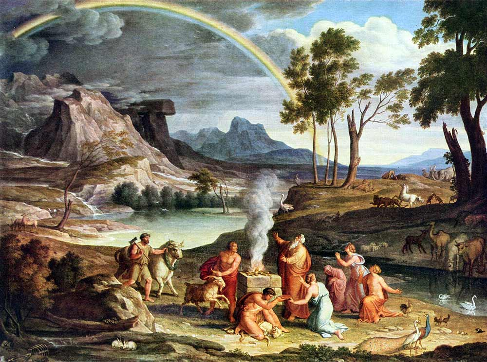 Noah's Thanksoffering (c.1803) by Joseph Anton Koch. Noah builds an altar to the Lord after being delivered from the Flood; God sends the rainbow as a sign of His covenant.