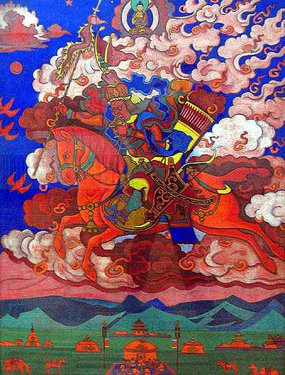 "Tibetans maintain the King of the World resides in Shambhala, the fabled Land of the Immortals, and has been patiently waiting for hundreds and thousands of years for an opportunity to lead his army out of his kingdom to destroy the darkness and ""evil"" that covers the planet during its latter days."