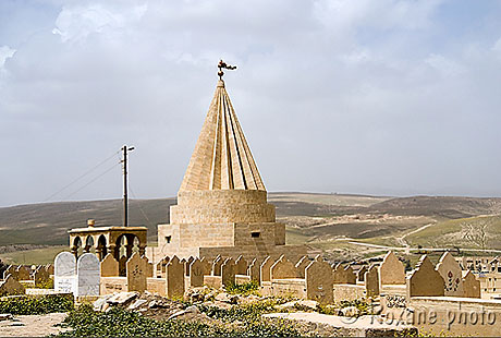A Yezidi cemetery located on the heights of Sheikhan